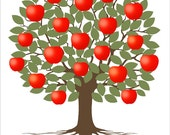 Teacher Day Gİft / Personalized Signature Tree red apples / Printable / Personalized Gift for the Teacher Classroom Gift / Kindergarten