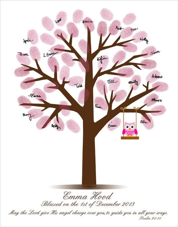 Baby Shower Fingerprint Tree Baby Shower Guestbook
