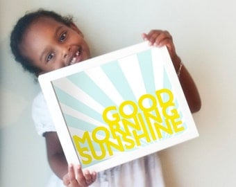 Good Morning Sunshine Print in yellow and light blue