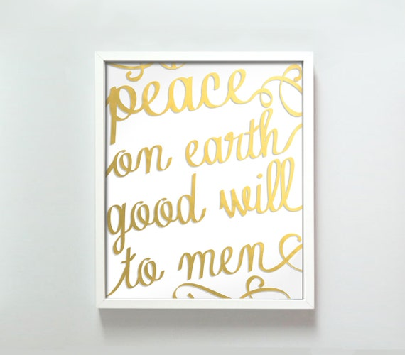 8x10 Peace on Earth print in gold