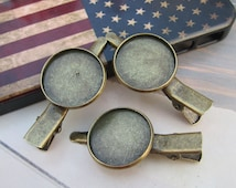 50pc antique bronze Clip brooches,round pad brooch,20mm Cabochon pad