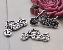 motorcycle charms,30pcs antique silver autobicycle charm pendants 24x14mm