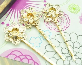 Hair pin hair clips 20pcs Gold bobby pins two layer filigree flower 55 mm