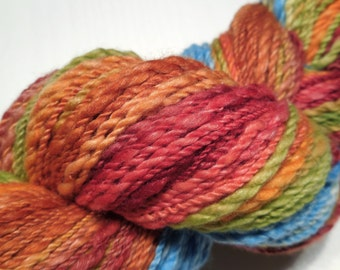 Handspun handpainted merino/soy silk thick and thin textured 2 ply yarn - 97gr (3.4oz) - Autumn