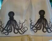 Octopus Tea towel set - Nautical Kitchen - Two Kitchen towel- Two Flour Sack towels- Black and White-