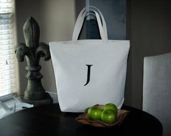 Personalized Custom Monogram Letter J Canvas Bag, Grocery Bag, Farmers Market Bag, Beach Bag, Large Tote Bag, Fathers Day Gift, Wedding Bag