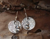 Small Fine Silver Abstract Dangles - PMC Earrings - Abstract Circle Earrings
