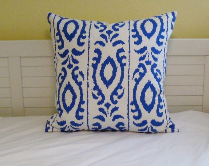 Stroheim Dana Gibson Madagascar in Cobalt Blue Ikat  Designer Pillow Cover - Square, Euro and Lumbar Sizes