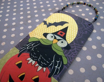 Halloween Owl Pumpkin Decoration, Mixed Media Collage Art, Bat Moon Decor, OOAK Ornament, Vintage Reproduction Art, jack o lantern, HAFAIR