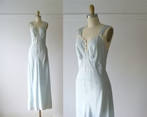 vintage 1930s nightgown / 30s silk nightgown / Blue Belle