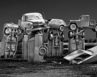Car Henge in Alliance Nebraska Modeled after the England Landmark Stonehenge in either Black & White or Sepia No.0570BW Fine Art Photography