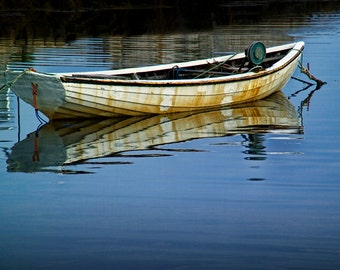 Anchored Boat in Still Water at Peggy's Cove Harbor in Nova Scotia Canada No.3921- A Fine Art Seascape Boat Photograph