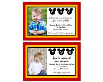 Mickey Mouse Inspired Birthday Invitation -  You Print