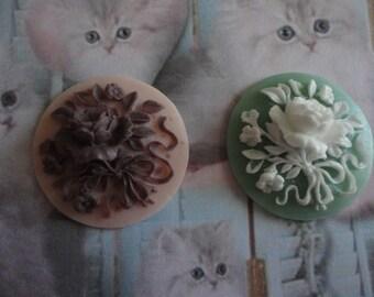 Kawaii rose cameo cabochon deco diy charm   2 pcs---USA seller