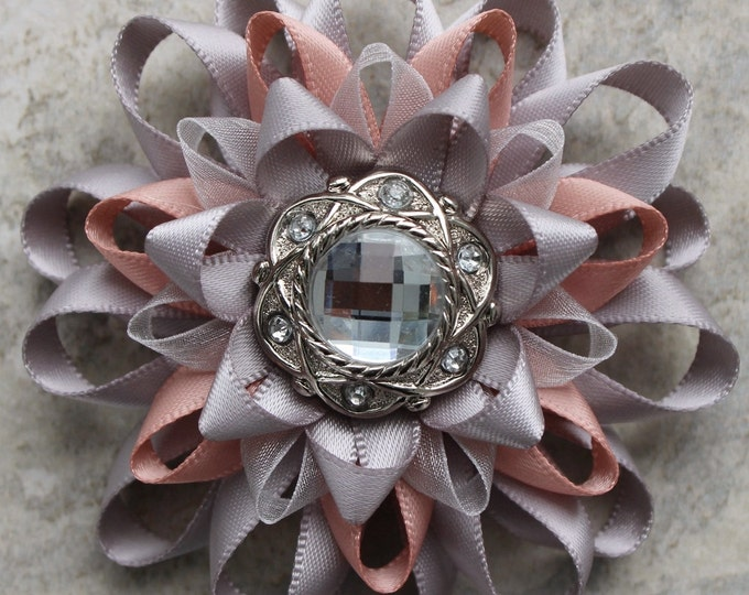 Gray Flower Brooch, Womens Lapel Flower Corsage, Blush and Grey Wedding, Gray Pink Wedding, Gift for Mom, Wedding Corsage, Gray Dress Pin