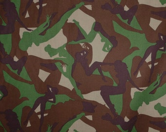 Brown and Green Camoflage Print Pure Cotton Fabric--One Yard