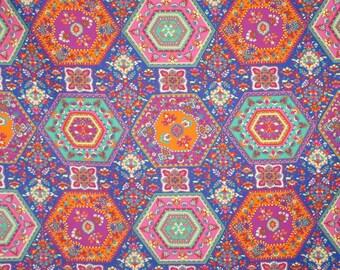 REMNANT--Colorful Medallion Foulard Print Pure Cotton Shirting Fabric--3/4 Yard