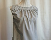 RESERVED FOR maddy3: Grey sleeveless top, upcycled from dress shirt, ruffled front, buttoned  back