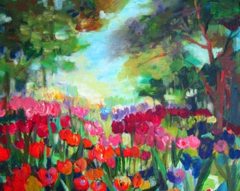 Landscape Painting Tulips Forrest canvas art  22 x 28 Original Painting Art by Elaine Cory
