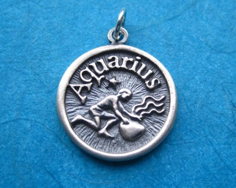 Sterling Silver Aquarius  Zodiac  Sign Medallion Pendant Charm