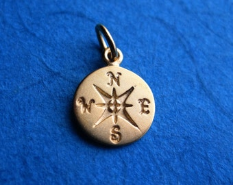 Gold Plated Stamped Compass Disc Tag Charm