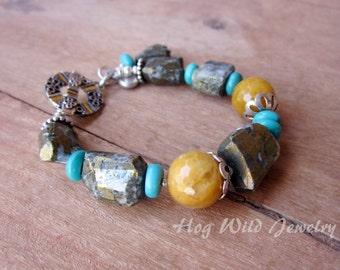 Pyrite Nugget Agate Quartz Turquoise Bracelet, Women's Ranch Style Jewelry, Asymmetrical Gemstone Bracelets, Women's Double D Ranch Style