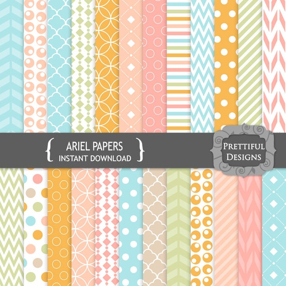 30% OFF SALE Digital Background Paper Blue Pink Orange Sage - Commercial Use - Ariel (808)