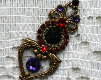 Multi Colored Heart Bindi in Oxidized Brass