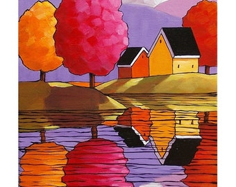PAINTING ORIGINAL by Cathy Horvath Purple Mountain Cottage Water Reflection Ready to Hang Acrylic on Canvas Folk Art Landscape Artwork 10x12