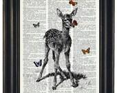 BOGO 1/2 OFF Baby Deer Dictionary Art Print Fawn and Butterflies Print  Dictionary Art Dictionary Print HHP Original Concept and Design
