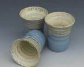 Pottery Tumbler / glass blue and cream