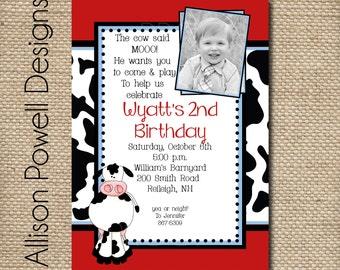Photo Cow Farm Birthday Party Invitation - Custom DIY