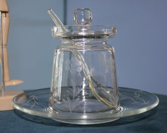 Princess House Jelly Jar with Matching Plate