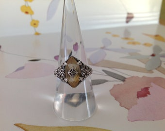 Sterling Silver Antique-Style Citrine Marquise Ring