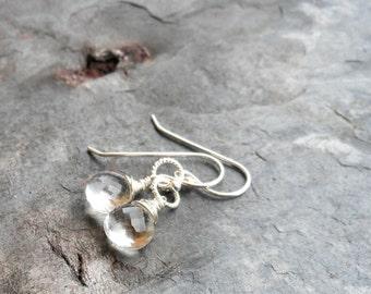 Petite Crystal Quartz Earrings Simple Dangle Stone Earrings, Sterling Silver Wire Wrapped