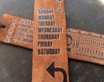Days of the Week Leather Bookmark Vintage Inspired Unique Book Lover Teacher Gift Graduation