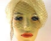 "Metallic Gold or Silver, Ivory, White or Black 9"" English Net Birdcage Bandeau Veil, Bridal Veil, Wedding Veil"