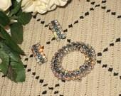Aurora Borealis, Brooch Set, Clip On Earrings, Matching Set, Vintage Jewelry Set, Rhinestones Wreath Brooch