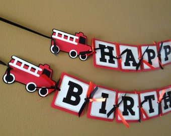 Boys Birthday Banner, Fire Truck Birthday Decorations, Firetruck banner, red black white