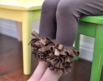 Chocolate Brown Leggings with Full Ruffles / Baby Girls Leggings---0M-18M