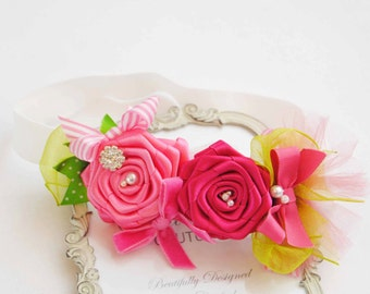 Chic Couture Headband with Hot and Dark  Pink Shade Roses with Green posh with  Pearls  Rhinestones Tulle Fabric Bow