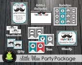 Little Man Party Package / Little Man Party Package / Little Man Birthday / Little Man Invitation / Little Man Party / 1st Birthday