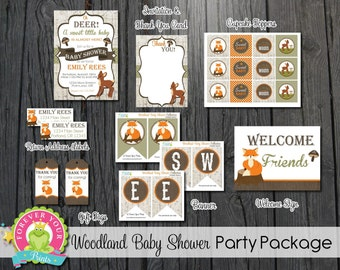 Woodland Baby Shower Package - Woodland Baby Shower Invitation - Woodland Shower Invitations - Woodland Baby Shower - Baby Shower Invitation