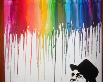 Frank Sinatra Inspired Crayon Melting Painting Art