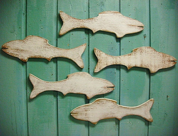 Wall Art Wood Fish : Fish school of wood wooden sign wall art lake beach house