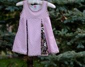 Pink-and-brown polka dot corduroy dress with brown paisley; girl's size 5-6