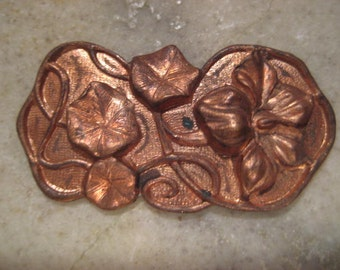 Vintage Brass Stamping: 1940s Flower and Vine, Floral Finding, Decorative Keepsake/Jewelry Box Trim, Quality Heavy Struck,  36x19mm, One pc.
