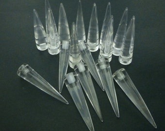 Clear QUARTZ SPiKES. Cabochons. ExTRA Loooooong & SPiKy. CoLoRlEsS PunK RoCk. Rock Crystal. Half Drilled 2 pc. 19 cts. 8x30 mm (Sp157-2)