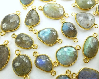 LABRADORITE. CoNNEcTOR LiNKS. Natural. SMaLl SiZe. Flat Rose Cut Polki. Vermeil. 6 pc. 20.0 cts. 12 to 15 mm (C-Lab2gold)