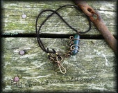Wire Wrapped Necklace - Handmade with Bronze and Fused Glass